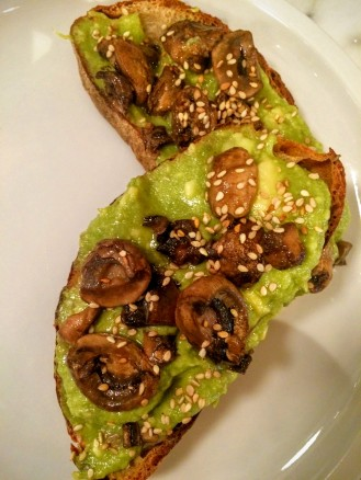 Avocado toast with sautéed mushrooms and toasted sesame seeds, Blank Slate, NYC